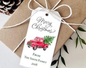 CHRISTMAS TRUCK Tags | Christmas Tags | Holiday Tags | Gift Tags | Gift Tag  - Set of 16