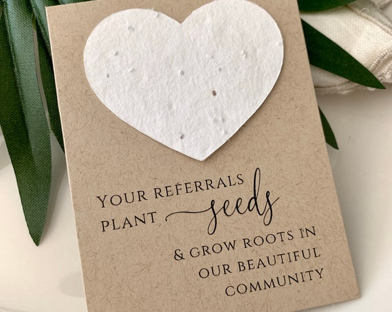 Fully Assembled Plantable Real Estate Cards, House Listing, Referral, Business Card, Open House, Plantable Seed Hearts, Seed Packet, 0976