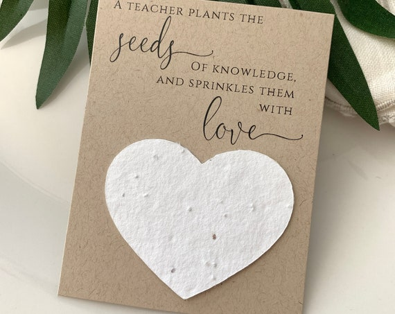 Fully Assembled Plantable Teacher Appreciation Cards, Teacher Favors, PTA, PTO, Gift, Plantable Seed Hearts, Seed Paper 2876