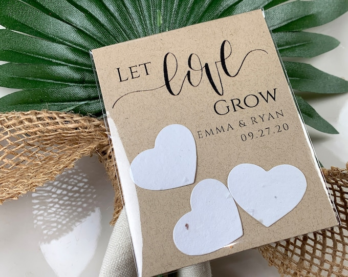 DIY Plantable Wedding Favors, Plantable Seed Paper Hearts, Rustic, Seed Favors, Wedding Seeds 9993