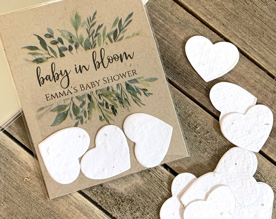 Fully Assembled Plantable Baby in Bloom Favors, Plantable Seed Paper Hearts, Rustic, Seed Favors, Seed Packet 2870