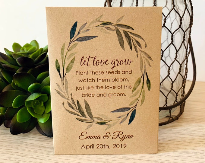 Wedding Seed Packets, Kraft, Personalized Envelopes, Wedding Favors, Bridal Shower, Seed Packet, Let Love Grow, Love Grows Wild