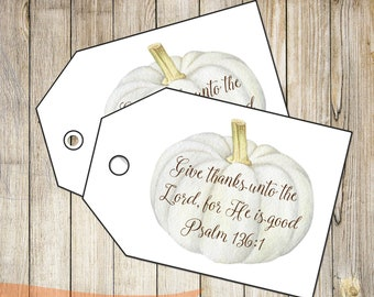 DIY PRINTABLE Tags  |  Give Thanks  |  Printable Thanksgiving Tags | Pumpkin Gift Tags | Gift Tags | Instant Download