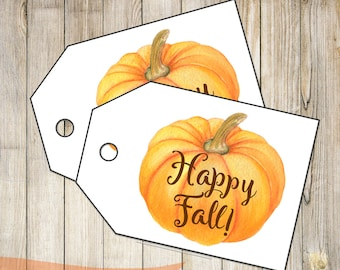 DIY PRINTABLE Tags  |  Happy Fall |  Printable Fall Tags | Pumpkin Gift Tags | Gift Tags | Instant Download