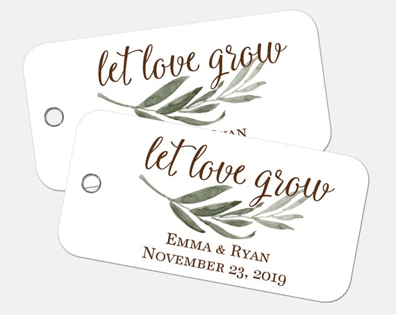 Let Love Grow Tags, Custom Tags, Product Tags, Personalized Tags, Wedding Tags, Product Tags, Gift Tags, Personalized Tags - Set of 20