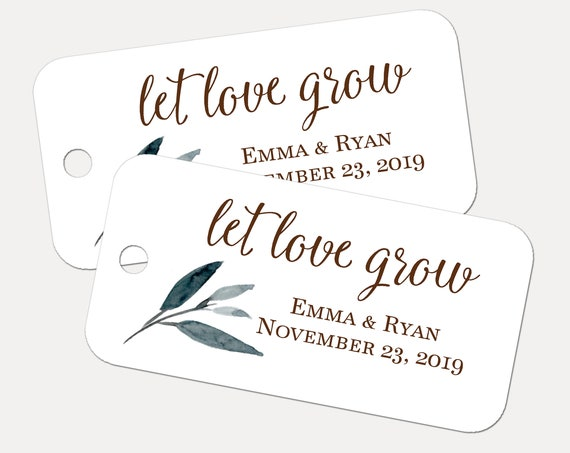 Let Love Grow Tags, Custom Tags, Wedding Tags, Personalized Tags, Wedding Favors, Leaves, Gift Tags, Personalized Tags - Set of 30
