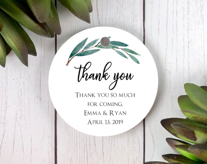 Thank You Tags for Favors, Wedding Gift Tags, Personalized Favor Tags, Eucalyptus, Greenery Foliage Tags 3009