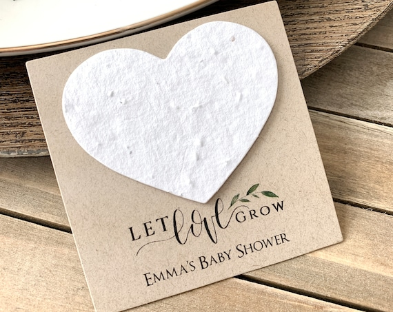 Fully Assembled Plantable Seed Heart Cards, Baby Shower Favors, Let Love Grow, Plantable Seed Paper Hearts 4779