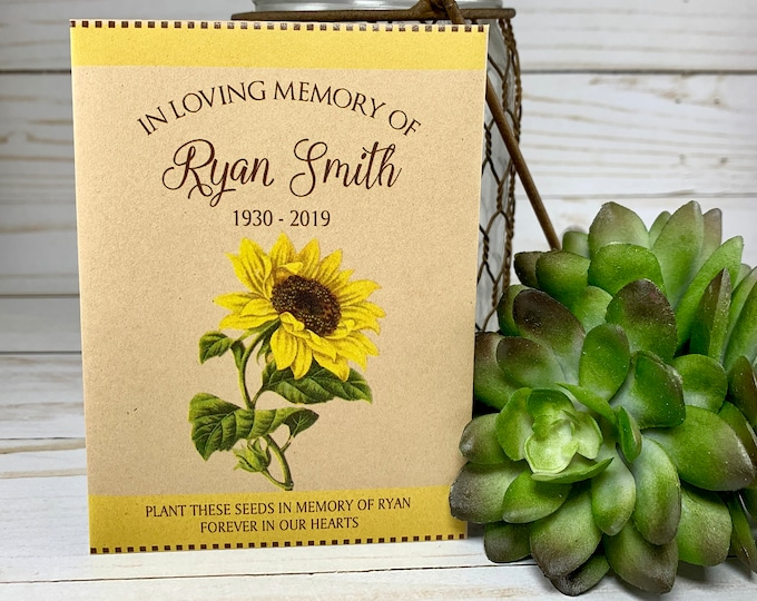 DIY Memorial Seed Packets, Sunflower, Funeral Seed Packets, Funeral Favors, Memorial Seed Packets, Forget Me Not, Celebration of Life 3660