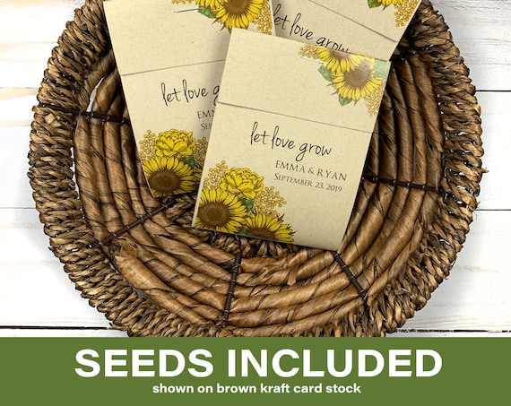 DIY Custom Seed Packets, Seed Packet Favors, Wedding Seed Packet Favors,  Baby Shower, Baby Shower, Baby in Bloom, Sunflower Seeds 2973
