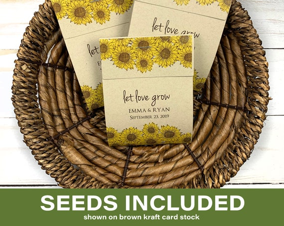 DIY Seed Packets, Seed Packet Favors, Wedding Seed Packet Favors, Baby Shower, Baby Shower Favor, Let Love Grow, Sunflower Seeds 2973