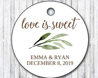 DIY PRINTABLE Tags  | Love Is Sweet Tags | Wedding GiftTags | Nature Gift Tags