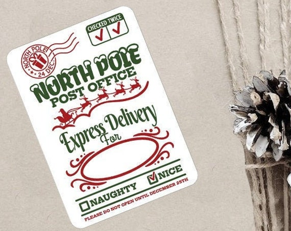 Christmas Stickers, North Pole Post Office, Special Delivery, North Pole Post Office, Elf Express, Packaging Stickers, Set of 9 (CH4867)