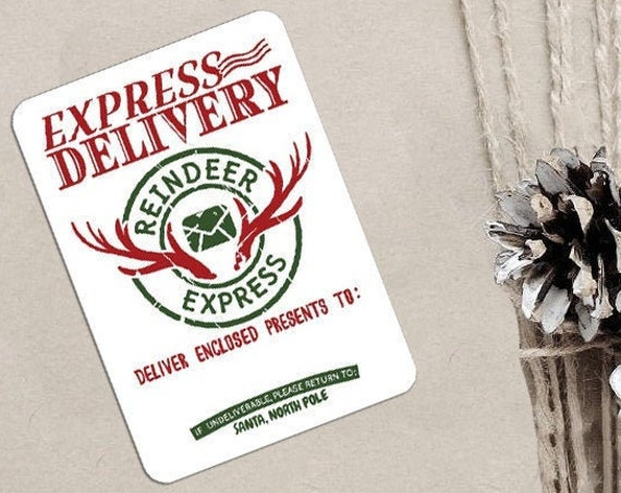 Christmas Stickers, Express Delivery, North Pole Post Office, Elf Express, Packaging Stickers, Set of 9 (CH2283)