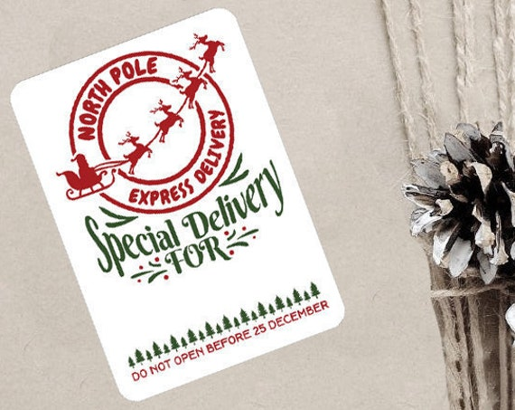 Christmas Stickers, Special Delivery, North Pole Post Office, Elf Express, Packaging Stickers, Set of 9 (CH3376)