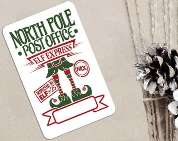 Christmas Stickers, North Pole Post Office, Elf Express, Packaging Stickers, Set of 9 (CH9283)