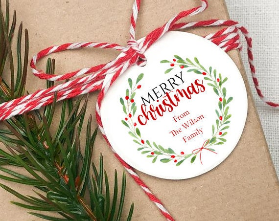 Wish You a Merry Christmas Tag, Christmas Wreath Tag, Holiday Gift Tag, Personalized Christmas Tags, C2298