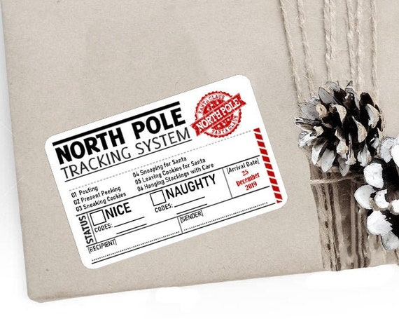 Christmas Stickers, North Pole Tracking System, Special Delivery, North Pole Post Office, Elf Express, Packaging Stickers, Set of 9 (CH9383)