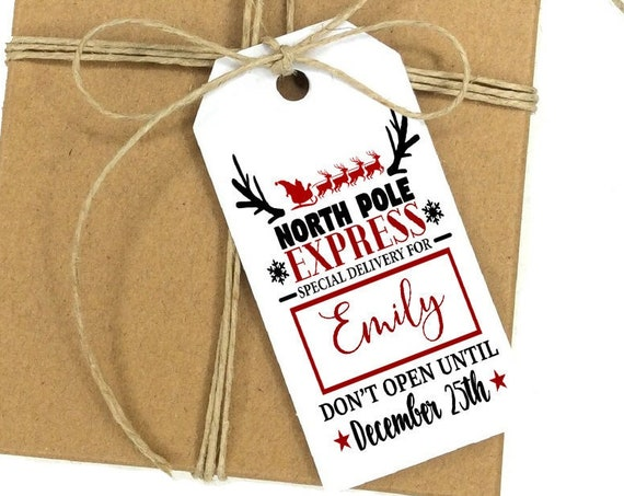 North Pole Express Delivery Tag, Christmas Truck Tag, Holiday Gift Tag, Holiday Tags, Personalized Christmas Tags, Holiday Gift Tag 2869