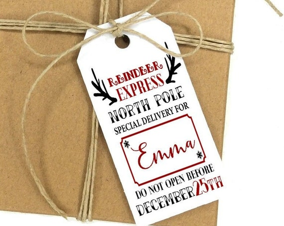 Reindeer Express Tag, Christmas Truck Tag, Holiday Gift Tag, Holiday Tags, Personalized Christmas Tags, Holiday Gift Tag 7773