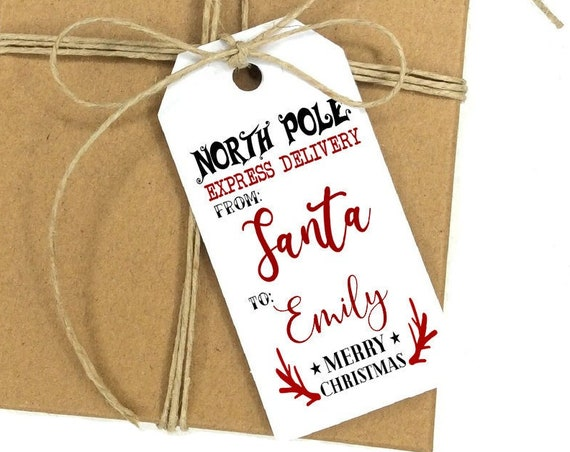 North Pole Express Delivery Tag, Christmas Truck Tag, Holiday Gift Tag, Holiday Tags, Personalized Christmas Tags, Holiday Gift Tag 8293