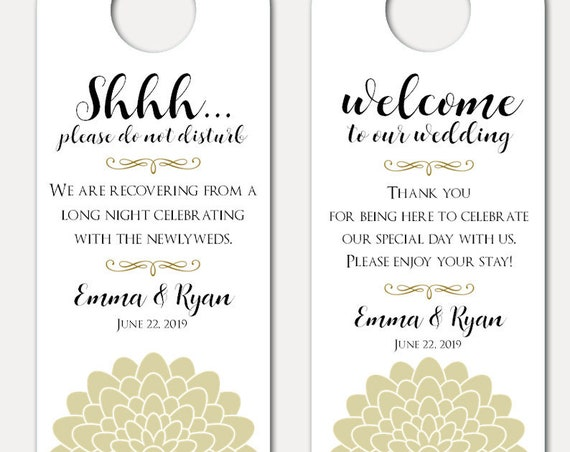 Wedding Door Hanger - Door Hanger for Wedding - Bachelorette Party - Do Not Disturb Door Hanger - Wedding Guest Gift (9881)