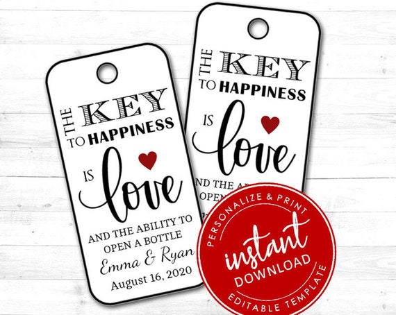 EDITABLE Tags | The Key to Happiness Tags | Printable Wedding Tags | Personalized Tags | Gift Tags Corjl 0002