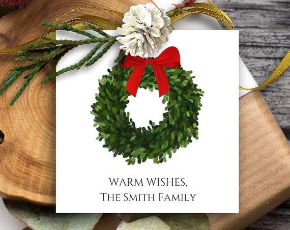 Christmas Wreath Tag, Christmas Mistletoe Tag, Holiday Gift Tag, Personalized Christmas Tags, Christmas Tags, 5293