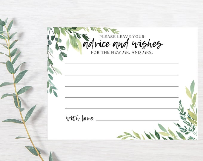 PRINTED Advice and Wishes Cards, For the Mr and Mrs, Bride and Groom, Newlyweds, Well Wishes, Rustic, Bridal Shower, Words of Advice (2389)