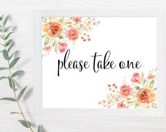 PRINTABLE Please Take One, Wedding Signs, Floral, Seed Packet Sign, Printable Wedding Sign, Wedding Signs, DIY, In Memory