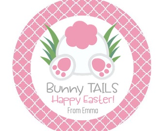Easter Stickers, Happy Easter, Bunny Stickers, Bunny Tails, Kids Easter, Personalized Stickers - Set of 12 or 24
