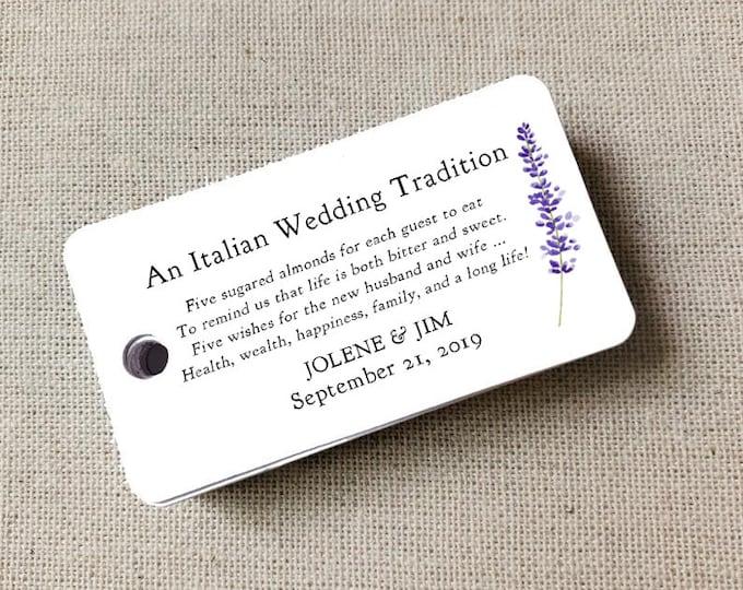 Sugared Almonds Personalized Tags Lavender Sprig, Almond Favor Tags, Wedding Favor, Wedding Bomboniere, Jordan Almonds - Set of 20 (3932)