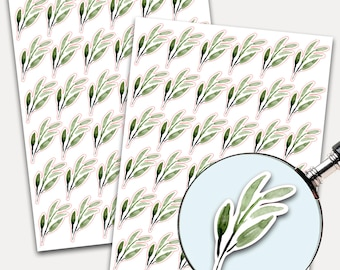Branch of Leaves Stickers, Envelope Seals, Planner Stickers, Leaves Watercolor, Nature Greenery, Botanicals, Eucalyptus Leaves (3300)