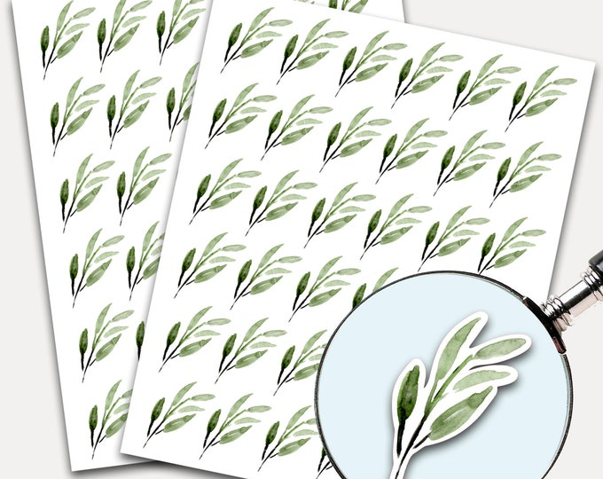 Watercolor Stickers, Envelope Seals, Planner Stickers, Leaves Watercolor, Nature Greenery, Botanicals, Succulent (3300)