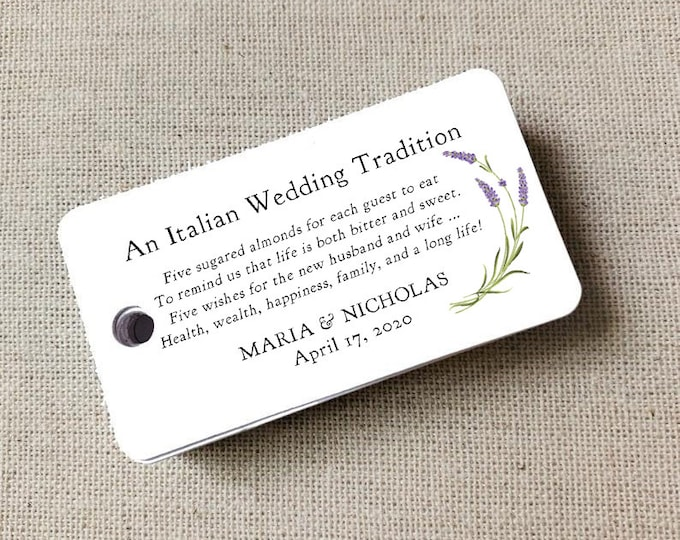 Sugared Almonds Personalized Gift Tags, Almon Favor Tags, Wedding Favor Tag, Wedding Bomboniere, Jordan Almonds - Set of 20 (8332)
