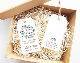 Personalized Wedding Tags, Monogram Gift Tags, Wedding Favor, Gift Tags - Set of 32 (6294)