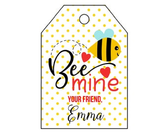 DIY PRINTABLE Tags  |  Bee Valentine's Day Tag | Bee Mine | Personalized Valentine's Tag | Valentine's Bee Tag | Printable Valentine's Tags