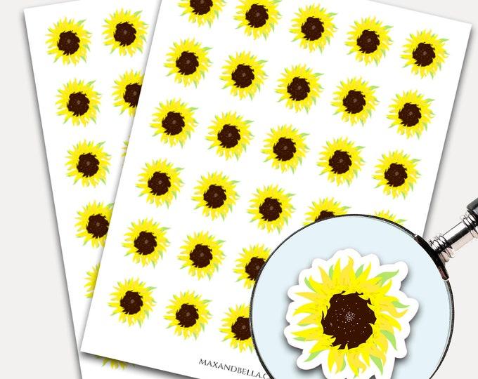Sunflower Planner Stickers, Sunflower Stickers, Planner Stickers, Floral Stickers, Sunflower, laptop Sticker, Sunflower Decal  2229