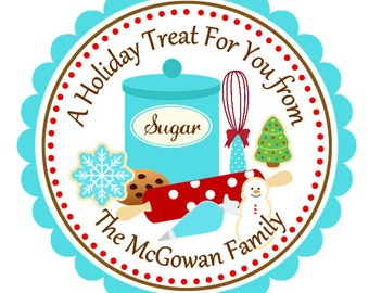 Personalized Christmas Holiday Baking Stickers, Christmas, Address Labels, Holiday, Children, Kids, Gift Tags, Party Favors - Set of 12