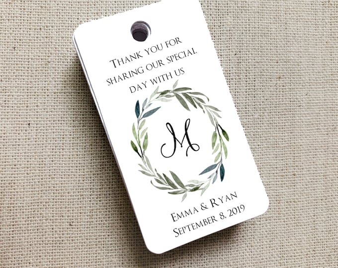 Monogram Wedding Gift Tags, Wedding Rehearsal Dinner, Custom Favor Tags, Gift Tag, Wedding Favors, Bridal Shower 3357