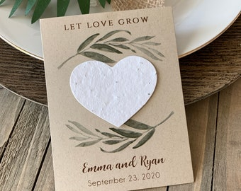 DIY Plantable Seed Hearts, Wedding Favors, Let Love Grow, Plantable Seed Paper Hearts 8266