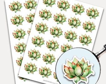 Succulent Stickers, Envelope Seals, Planner Stickers, Leaves Watercolor, Nature Greenery, Botanicals, Succulent (7630)