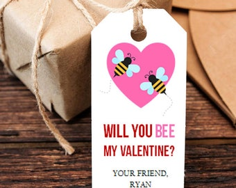 Valentine S Day Tag Will You Bee My Valentine Tag Etsy