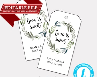 DIY EDITABLE Tags  |  Love is Sweet (1010) |  Printable Gift Tags | Wedding Gift Tags | Printable Wedding Thank You Tag  | Instant Download