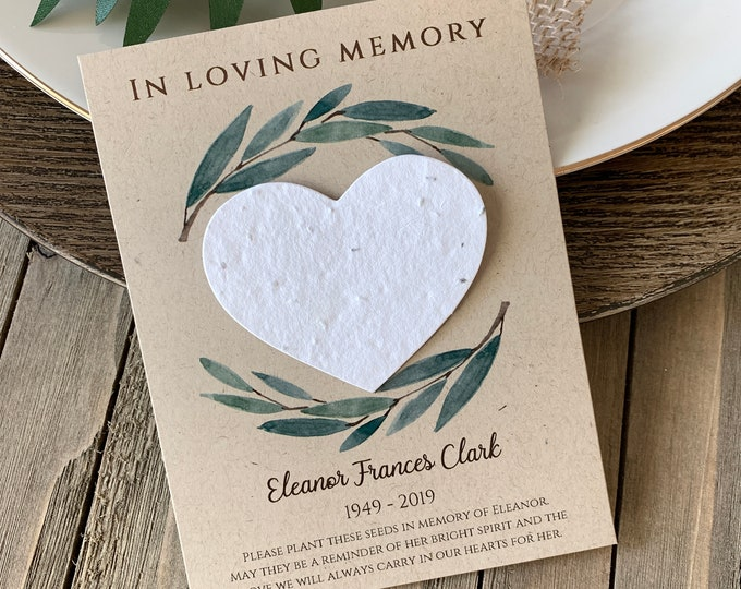 DIY Plantable In Loving Memory, Forget Me Not, Memorial Cards, Plantable Seed Paper Hearts 4492