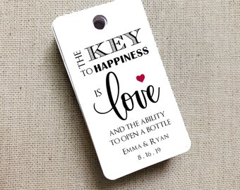 The Key To Happiness Tags, Key to Happiness, Custom Favor Tags, Key To Love, Bottle Opener Tags, Gift Tag, Wedding Favor Gift Tag Set of 40