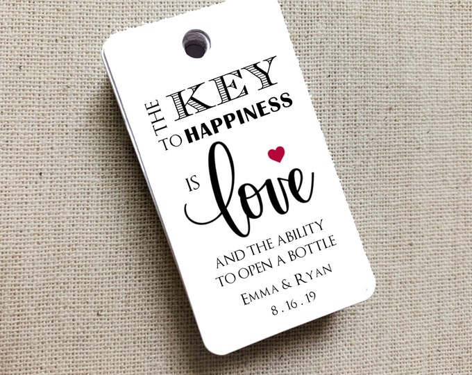 The Key To Happiness Tags, Key to Happiness, Custom Favor Tags, Key To Love, Bottle Opener Tags, Gift Tag, Wedding Favor Gift Tag Set of 20