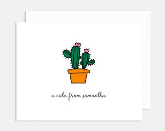 Personalized Cactus Card,  Succulent Card, Cacti Cards, Blank Cards, Personalized Note Card, Housewarming Card