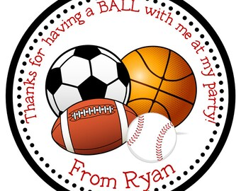 Sports Personalized Stickers, Address Labels, Hang Tags, Gift Tag, Sports, Soccer, Football, Baseball, Basketball, Party Favor - Set of 12