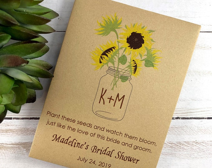 DIY Custom Seed Packets, Let Love Grow Seed Packets, Flower Seed Packets, Kraft, Bridal Shower, Wedding Seed Packets, Love Grows Wild 3660